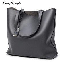 Fangnymph 2018 nuevas mujeres grandes moda pu cuero mano Bolsas femenina marcas Bolsos de hombro señoras grandes compras Totes bolsos