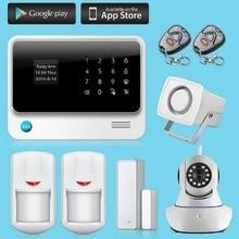 Android IOS APP Управления Ip-камеры Детектор Датчик Сигнализации Дома GSM WIFI Сенсорной Клавиатурой ЖК-Дисплей