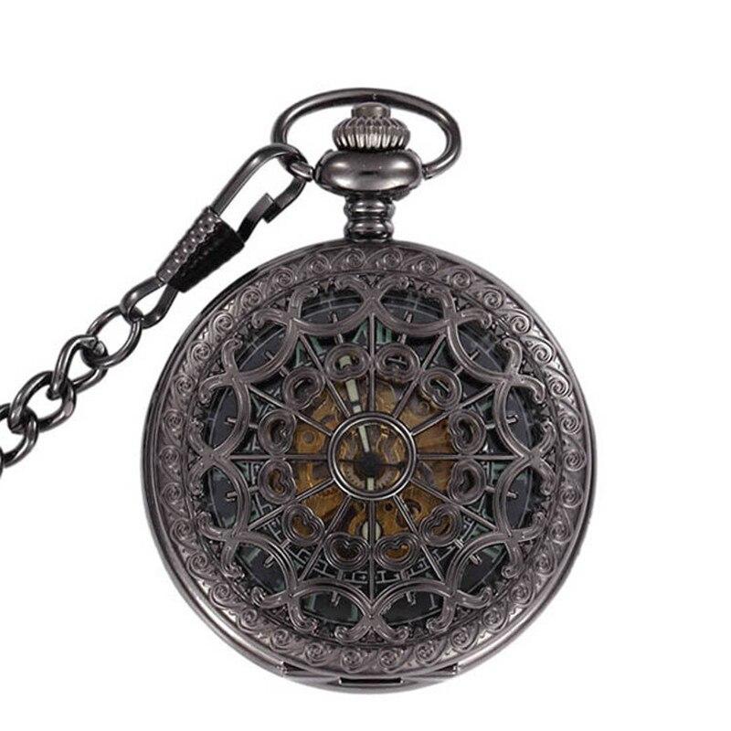 Светящиеся скелетоны, черные полые автоматические механические карманные часы, мужские винтажные ручные часы с подвеской, карманные и Fob ча