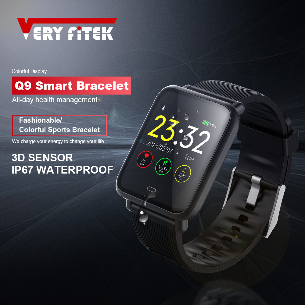 VERYFiTEK Q9 Blood Pressure Heart Rate Monitor Smart Watch IP67 Waterproof Sport Fitness Trakcer Watch Men Women Smartwatch colmi v11 smart watch ip67 waterproof tempered glass activity fitness tracker heart rate monitor brim men women smartwatch