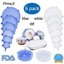 e5b9eb07672 Tapas elásticas de silicona ZhangJi (juego de 6) cubierta de contenedor de  alimentos reutilizable sello para cuencos jarras olla.