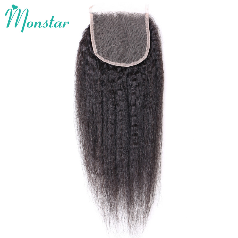 Monstar Brazilian Kinky Straight Closure 4x4 Peruvian Remy Hair Lace Top Closure Free/Middle Part Closure with Baby Hair