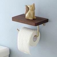 Brass Solid Wood Wall Hanging Napkin Holder Nordic Bathroom Gold Toilet Paper Holder Roll Holder Towel Ring Phone Shelf Basket