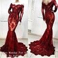 Nova chegada vermelho longos vestidos de noite com mangas 2016 Baot pescoço frisado longo sereia vestido de noite