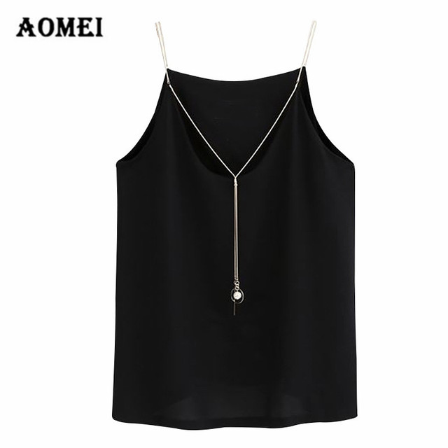 09b686a989dac Women Sexy Tops Summer Solid Spaghetti Strap Necklace Tank Tops Unif Plus  Size 5XL 4XL Shirt Crop Tops Mujer Vests Basic V Neck