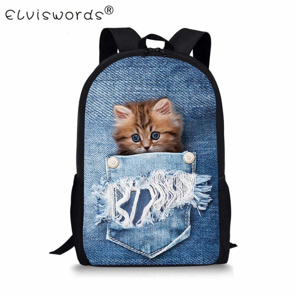 ELVISWORDS милые джинсовые с принтом кота Детские ранцы для девочек-подростков школьные сумки книга сумки для детей Повседневное Для женщин Дорожные сумки