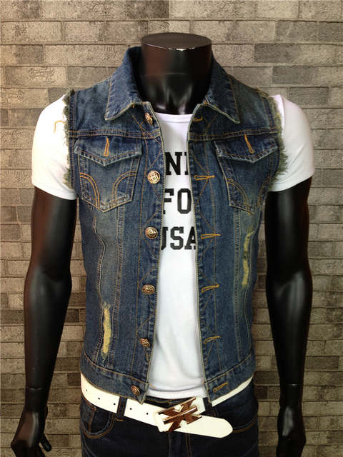 8ff40c40c03 placeholder New 2017 Fashion Mens Denim Vest Vintage Sleeveless washed  jeans waistcoat Man Cowboy ripped Jacket Plus