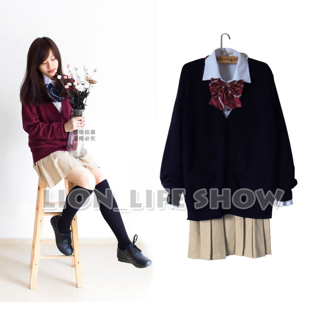 Japanese Women JK Student Sweater Cardigan School Uniform Set Cosplay Costume
