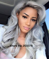 Kylie Jenner perruque Brazilian 24 inch Women Long Synthetic Ombre Gray Grey Silver Body wave Lace Front Heat Resisitant Wigs