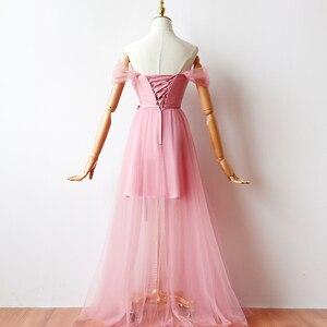 Image 2 - ציפוי פנימי אדום שעועית ורוד שושבינה שמלות אישה שמלות למסיבה וחתונה מקסי שמלה