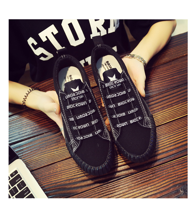 Spring Korean versatile canvas shoes female 2018 new students Harajuku cloth shoes casual black Hong Kong wind board shoes 29