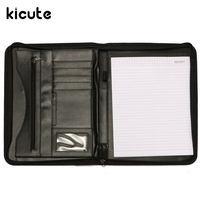Kicute A4 Manager Conference Folder PU Portfolio Zipped Leather Look Folder Document Organiser Document Holder Office
