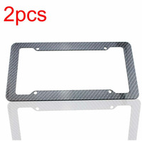 2pcs License Plate Frames Carbon Fiber Plastic Front Rear Bracket With Screw Kits Fine Slim Standard