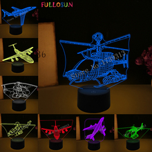 Airplane 3D RGB Lamp Helicopters Night Lights Illusion Light LED Colorful Atmosphere Novelty Gift