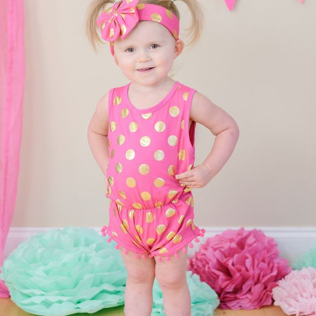 06de43679 Hot Pink & Gold Dots Pom Pom Romper Jumpsuit & Big Bow Headband Set,baby  girl clothes,baby outfit,gold polka dots baby romper