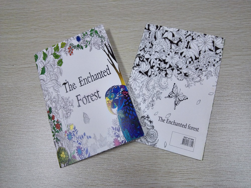 English Edition The Enchanted Forest Coloring Book 16 Pages Secret Garden Styles For Adult Relieve Stress Painting Drawing Books