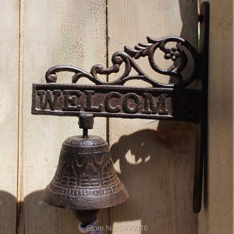 US $28 04 15% OFF|Welcome Cast Iron French Style Bracket Door Bell Patio  Garden Gate Bell Hook Yard Outdoor Home Decor Accent Free Shipping-in Wind