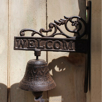 Welcome Cast Iron French Style Bracket Door Bell Patio Garden Gate Bell Hook Yard Outdoor Home Decor Accent Free Shipping