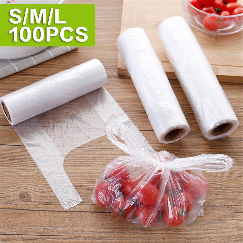 100PCS Vest Type Food Storage Bag Kitchen Storage Organization Plastic Bags Thick Disposable Disposable Food Bag 301-0774
