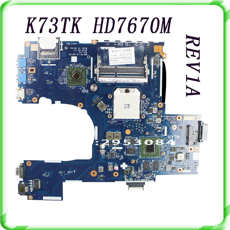 For ASUS K73T X73T K73TA K73TK R73T Latop motherboard QBL70 LA-7553P hd7670m 1GB Mainboard 100%tested&very well work k73ta for asus k73t x73t k73ta k73tk r73t latop motherboard rev 1a qbl70 la 7553p hd7670m 1gb mainboard 100% tested ok