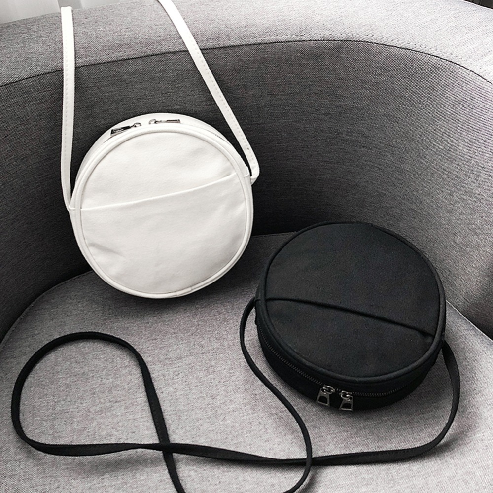 Round Women PU Leather Messenger Bags Casual Circle Shape Shoulder Bags Fashion Black White Color Females Handbags Bolsas Mujer