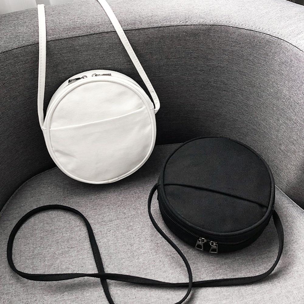 Round Women PU Leather Messenger Bags Casual Circle Shape Shoulder Bags Fashion Black White Color Females Handbags Bolsas Mujer
