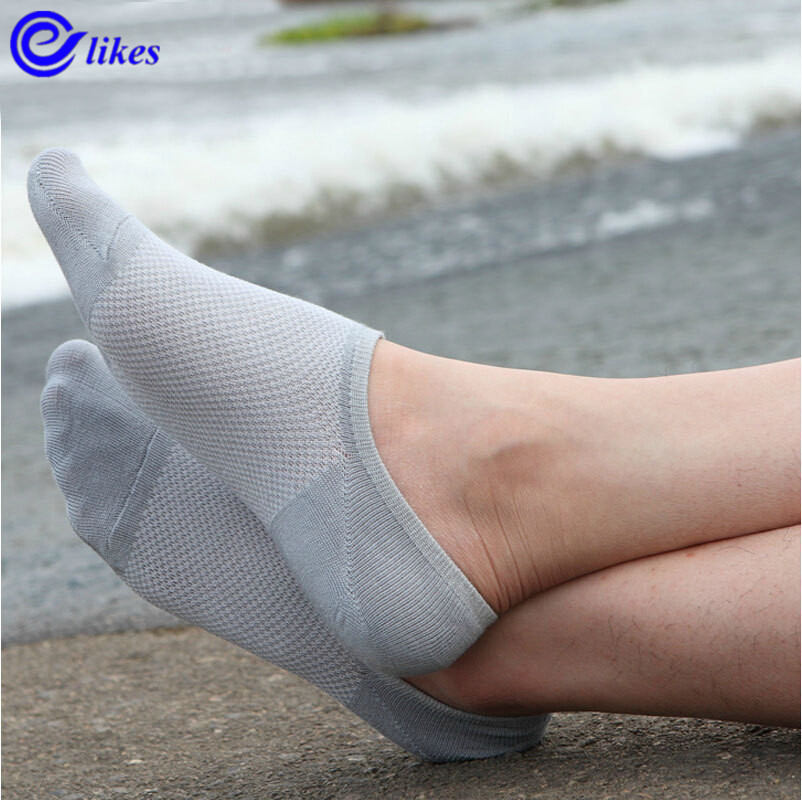 5Pairs Men's Net Socks Short Fashion Invisible Socks For Men Brief Invisible Slippers Shallow Mouth No Show Low Cut Ankle Socks