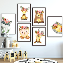 Cartoon Bear Deer Owl Raccoon Elk Wall Art Canvas Painting Nordic Posters And Prints Animals Pictures Kids Baby Room Decor