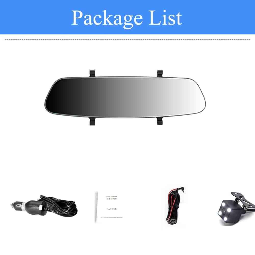 ADDKEY 7 дюймов Автомобильный видеорегистратор с сенсорным экраном камера 1080P двойной объектив Автомобильная камера s earview зеркало циклическая запись Автомобильный регистратор Dash cam - Название цвета: dual lens