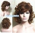 Мода Женщин Сексуальный Коричневый красный Средний Волнистые Волосы Вьющиеся парик лучшие качества волос парики бесплатная доставка