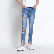 2017 denim pants ladies informal gap womens clothes embroidery denims lady summer time excessive waist denims