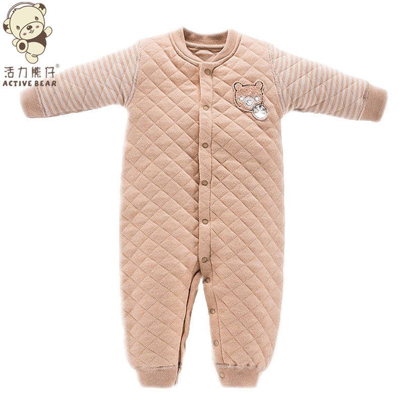 Baby Quilted Romper Jumpsuit Winter Long-sleeved Zipper Unisex  colored Cotton Thicken Soft Children Climb Clothes Romper