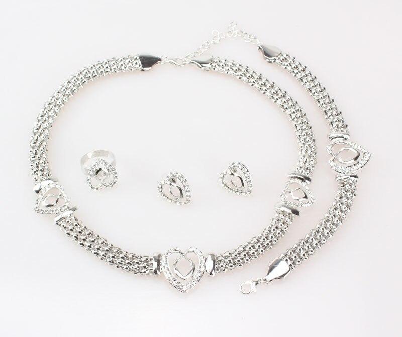 Free Shipping Dubai  Gold Color Heart Shape Necklace Set Fashion Crystal Wedding Bridal Costume Jewelry Ses 3