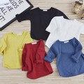 2017 Nova Primavera Do Bebê T Shirts Menina Meninos Cor Sólida t-shirt de manga comprida 0-7 anos crianças encabeça roupas crianças outono D03