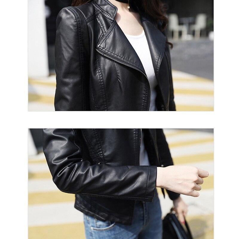Véhicule 2018 Femmes 2 Court Ym1016 Hiver rose black Automne Pu Faux marron Punk Mode Bomber Nouveau Vêtements Taille Plus Mince Veste Conception Manteau Moteur De Noir wqUwfSpC