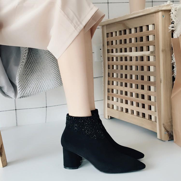 De Negro Cristal Grueso Gris Punta La Chic Zapatos Negro Gamuza Mujer gris Tacón Flores Invierno Tobillo Pista Botas wqCagtEC