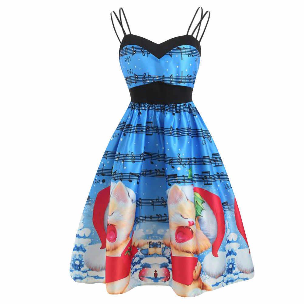 5ed62516b1718 Summer Desses 2018 New Fashion Women Casual Christmas Santa Print Vintage  Evening Party Dress Swing Ladies