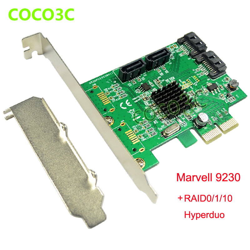 Marvell Chipset 4 Ports SATA 6Gbps PCI Express Controller Card PCI-e to SATA 3.0 Converter RAID 0 RAID 1 RAID10 and HyperDuo