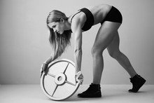 weight disk physical activity fitness sexy girl sports SY63 home wall modern art decor wood frame poster