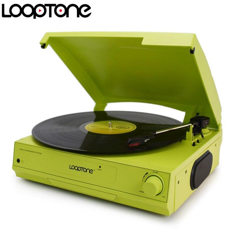 LoopTone 33/45/78 RPM 비닐 LP 레코드 플레이어 턴테이블 플레이어 내장형 스피커 헤드폰 잭 및 RCA 라인 출력 AC110 ~ 130 및 220 ~ 240V