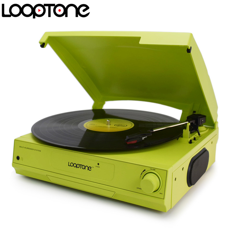 LoopTone 33/45/78 RPM Vinyl LP Record Player Turntable Players Built in Speaker Headphone Jack&RCA Line out AC110~130&220~240V