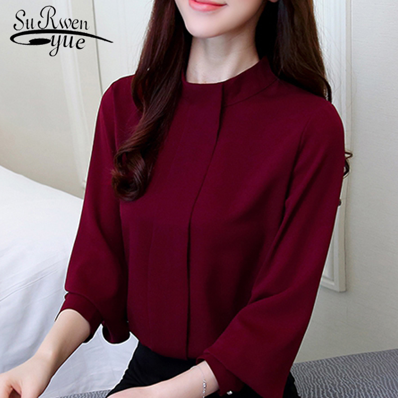 New Fashion 2018 women   blouse     shirt   long sleeve plus size women's clothing red office lady   shirt   feminine tops blusas D208 30