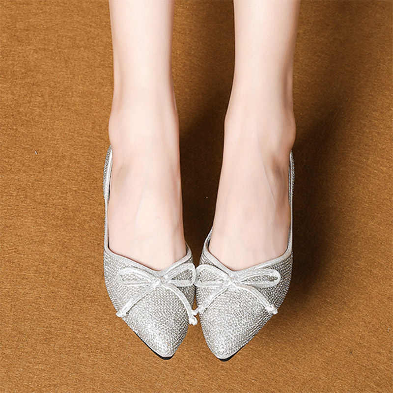 Spring Summer Glitter Women Flats Pointed Toe Slip on Flat Shoes Bling  Ballet Flats Bow Ladies 6547112be2f7