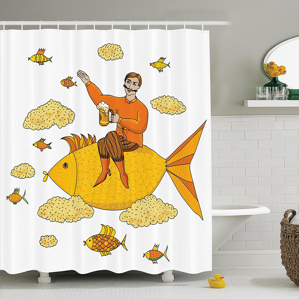 Manly Man Holding Big Glass of Beer Floating on Fish Cartoon Character Foam Clouds Imaginary Art Polyester Shower Curtain
