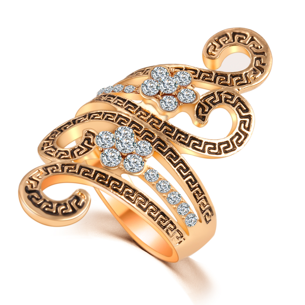 Top Fashion 2016 Retro Antique Silver & Glod Rings for Women Ring Accessories,Elegant Zircon Rings, A Gift BLE512