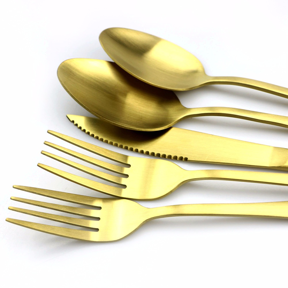 Jankng 30ピース18/0マット金カトラリーセットステンレス鋼ダイニングナイフフォークティースプーンゴールデン高級食器食器セット  グループ上の ホーム&ガーデン からの 食器セット の中 3