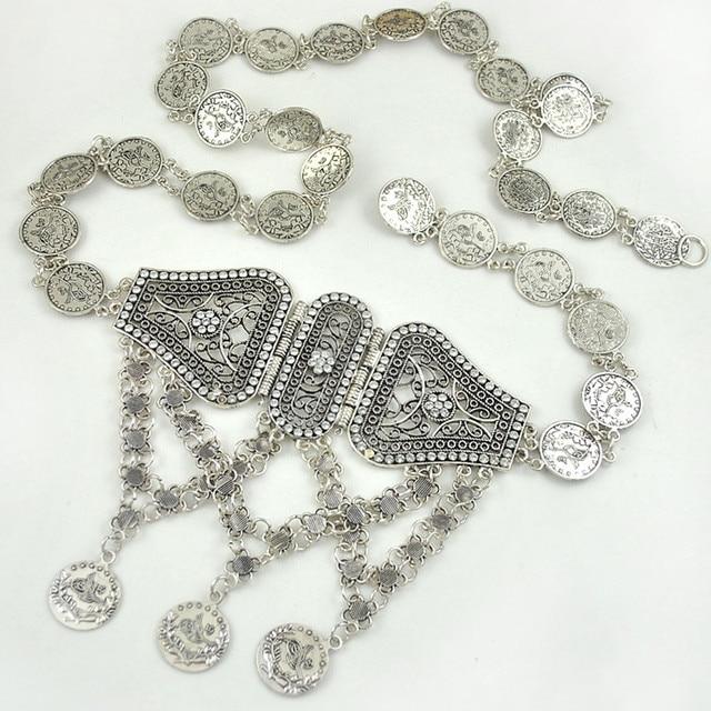Retail plata antigua para las mujeres vintage metal hebilla mujeres  cinturones turco tallado Cinto cintura cadena e1216bda06c2