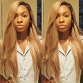 Wholesale Premium #613 blonde ombre wig dark root long natural straight wigs thick soft Brazilian Hair synthetic lace front wig