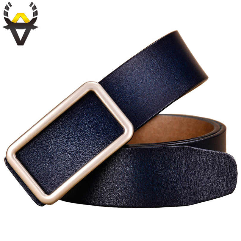Genuine leather belts for women Fashion Designer Pin buckle belt woman Quality Second layer cow skin female jeans strap Blue