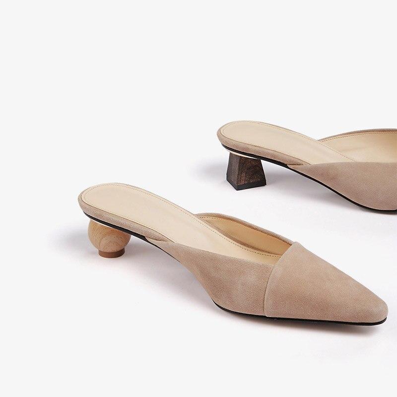 Dames Pointu Femmes Slip Étrange Chaussures L'extérieur As Casual Pompes Bout Show Show Diapositives Mules Mode D'été On Mi as À Talon Pantoufles 2018 Wan0xqwS